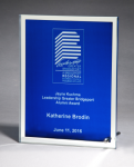 Glass Plaque with Blue Center and Mirror Border Employee Awards